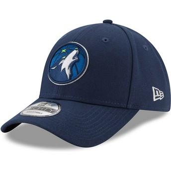New Era Curved Brim 9FORTY The League Minnesota Timberwolves NBA Navy Blue Adjustable Cap