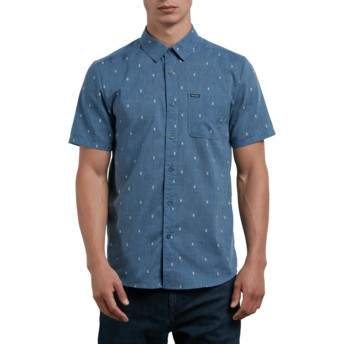 Volcom Deep Blue Gladstone Blue Short Sleeve Shirt