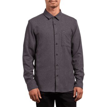 Volcom Asphalt Black Caden Solid Black Long Sleeve Shirt