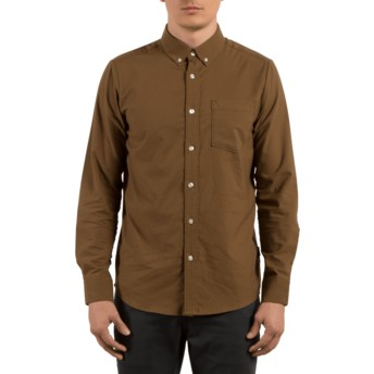 Volcom Mud Oxford Stretch Brown Long Sleeve Shirt