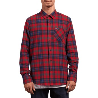 Volcom Engine Red Caden Plaid Red Long Sleeve Check Shirt