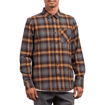 Volcom Espresso Caden Plaid Brown and Blue Long Sleeve Check Shirt