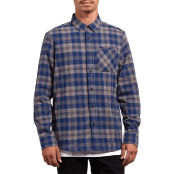 Volcom Matured Blue Caden Plaid Blue Long Sleeve Check Shirt