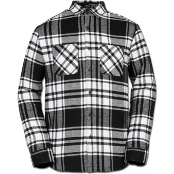 Volcom White Shader Black and White Long Sleeve Check Shirt
