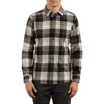 Volcom Cloud Caden Black and Grey Long Sleeve Check Shirt