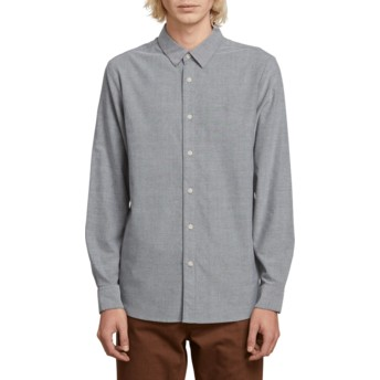 Volcom Black Oxford Stretch Grey Long Sleeve Shirt