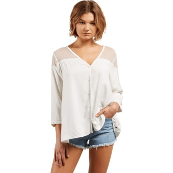 Volcom Star White Sea Y'around White Long Sleeve Shirt