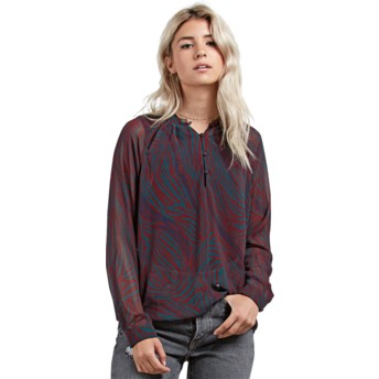 Volcom Burgundy Zebom Red Long Sleeve Blouse