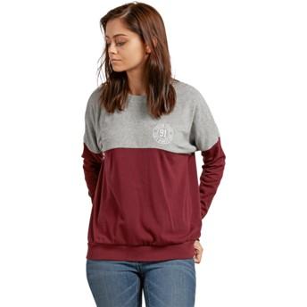 Volcom Burgundy Blocking Grey and Red Sweatshirt