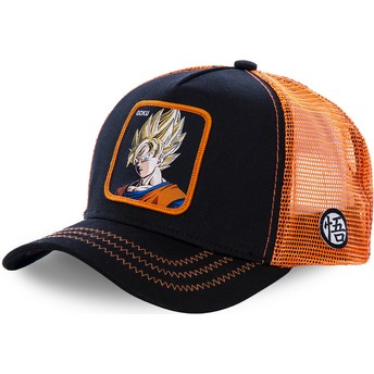 Capslab Son Goku Super Saiyan GO3 Dragon Ball Black and Orange Trucker Hat