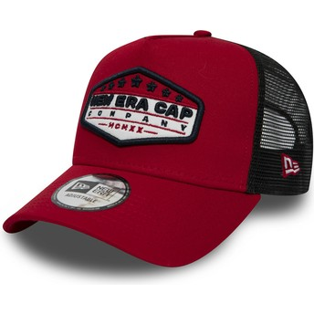 New Era Patch A Frame Red Trucker Hat