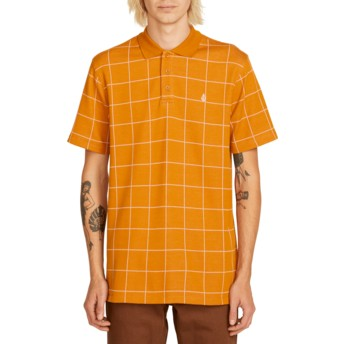 Volcom Camel Wowzer Plaid Brown Check Polo