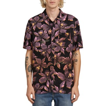 Volcom Neon Pink Resorto Vallarta Black Short Sleeve Floral Shirt