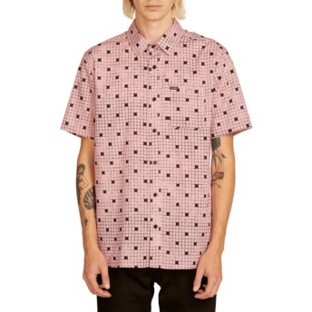 Volcom Light Mauve Crossed Up Pink Short Sleeve Shirt