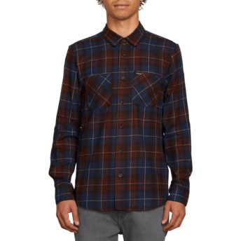 Volcom Melindigo Lumberg Flannel Blue Long Sleeve Check Shirt