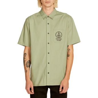 Volcom Dusty Green Crowd Control Green Short Sleeve Shirt