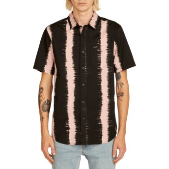 Volcom Light Mauve Fade This Black and Pink Short Sleeve Shirt