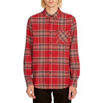 Volcom Burgundy Caden Plaid Red Long Sleeve Check Shirt