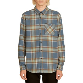 Volcom Indigo Caden Plaid Navy Blue Long Sleeve Check Shirt