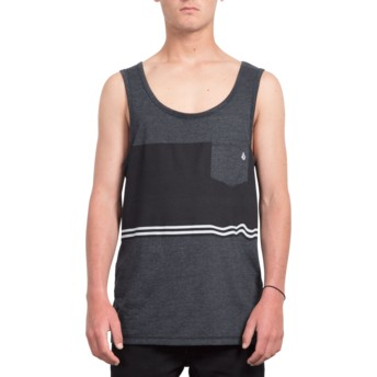 Volcom Three Heather Black Quarter Black Sleeveless T-Shirt