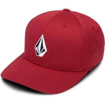 Volcom Curved Brim Burgundy Full Stone Xfit Red Fitted Cap