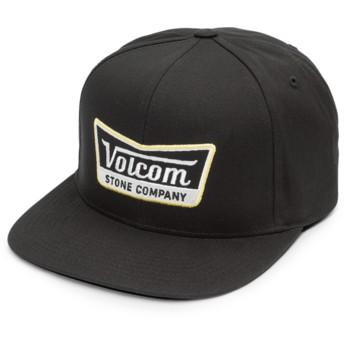 Volcom Flat Brim Black Top Cresticle Black Snapback Cap