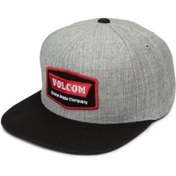 Volcom Flat Brim Red Cresticle Grey Snapback Cap with Black Visor
