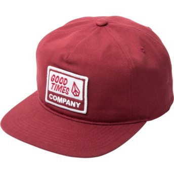 Volcom Flat Brim Burgundy Righteous Red Snapback Cap