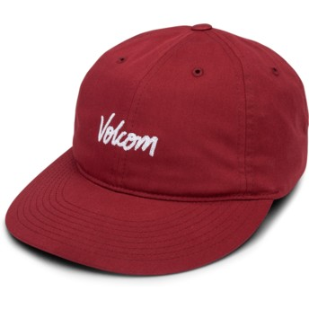 Volcom Curved Brim Burgundy Volscripto Red Adjustable Cap