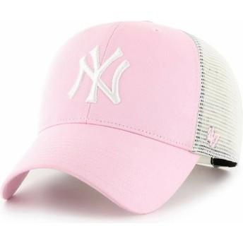 47 Brand MVP Flagship New York Yankees MLB Light Pink Trucker Hat