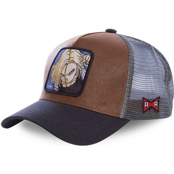 Capslab Android C-18 C18A Dragon Ball Brown and Grey Trucker Hat