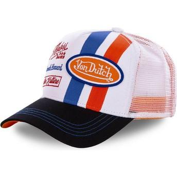 Von Dutch MCQORA White and Orange Trucker Hat