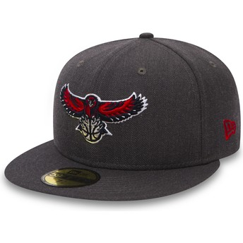 New Era Flat Brim 59FIFTY Heather Atlanta Hawks NBA Black Fitted Cap