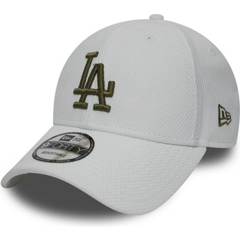 New Era Curved Brim Green Logo 9FORTY Diamond Era Los Angeles Dodgers MLB White Adjustable Cap
