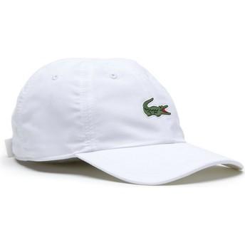 Lacoste Curved Brim Croc Microfibre White Adjustable Cap
