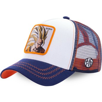 Capslab Son Goku Super Saiyan 3 SAN2 Dragon Ball White, Blue and Orange Trucker Hat