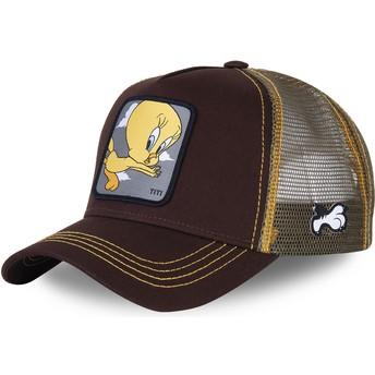 Capslab Tweety TIT1 Looney Tunes Brown Trucker Hat