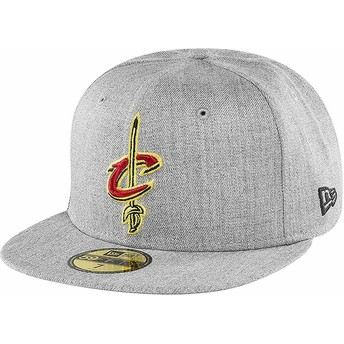 New Era Flat Brim 59FIFTY Heather Cleveland Cavaliers NBA Grey Fitted Cap