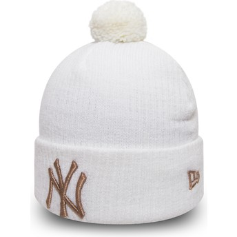 New Era Cuff Knit Sport Waffle New York Yankees MLB White Beanie with Pompom