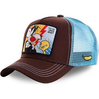 Capslab Sylvester Vs Tweety TVG1 Looney Tunes Brown and Blue Trucker Hat