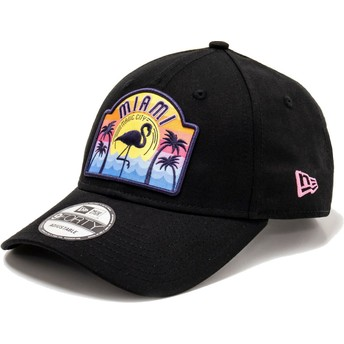 New Era Curved Brim 9FORTY USA Patch Miami Black Adjustable Cap