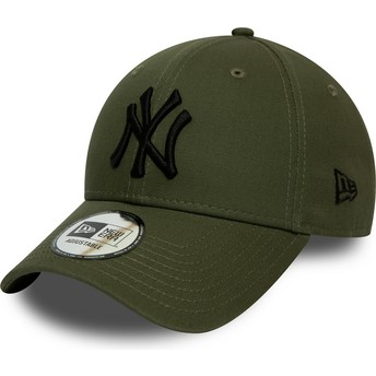 New Era Curved Brim Black Logo 9FORTY League Essential New York Yankees MLB Green Adjustable Cap