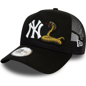 New Era A Frame Snake New York Yankees MLB Black Trucker Hat