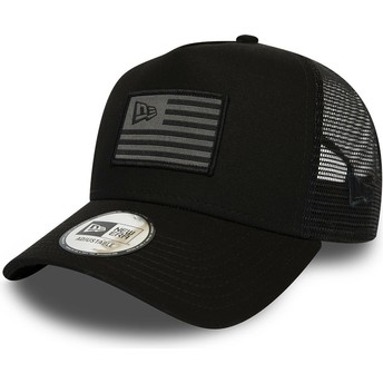 New Era A Frame Flag Black and Grey Trucker Hat
