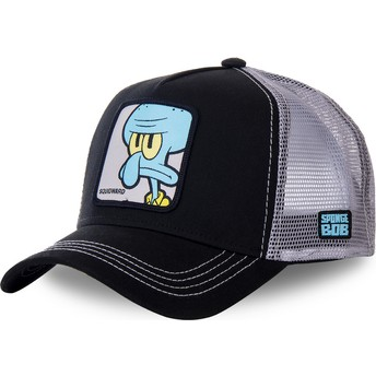 Capslab Squidward Tentacles SQU SpongeBob SquarePants Black and Grey Trucker Hat