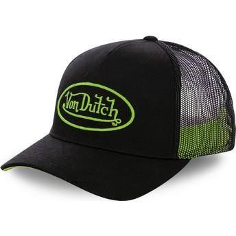 Von Dutch Green Logo NEO GRE Black Trucker Hat