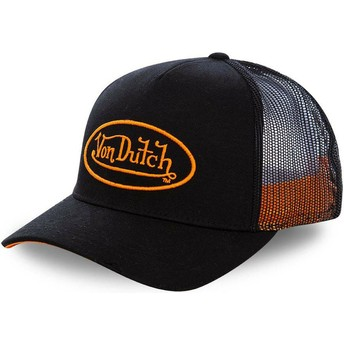 Von Dutch Orange Logo NEO ORA Black Trucker Hat