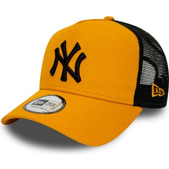 New Era Black Logo League Essential A Frame New York Yankees MLB Orange Trucker Hat