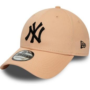 New Era Curved Brim Black Logo 9FORTY League Essential New York Yankees MLB Light Pink Adjustable Cap