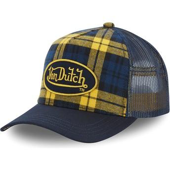 Von Dutch CAR A4 Yellow and Blue Checkered Trucker Hat